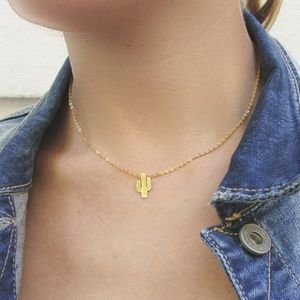 Cactus Charm Necklace - Gold